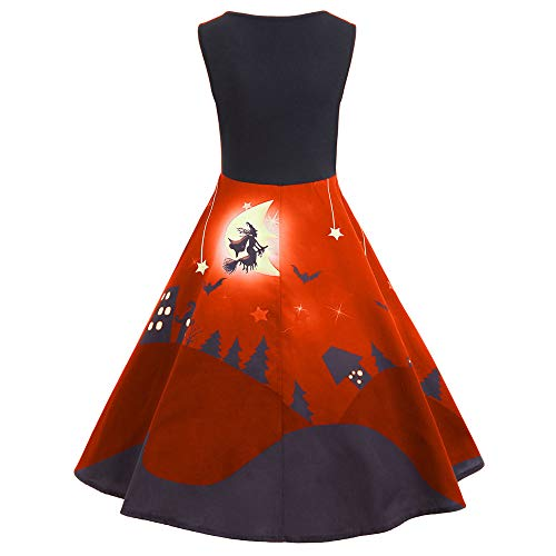 Halloween Damen Abendkleider Vintage Print Ärmelloses Party Langes Kleider SANFASHION