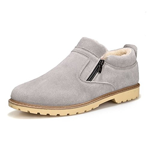 Men's British Style Warm Leather Casual Ankle Snow Shoes gray