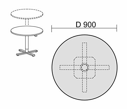 Konferenztisch mit Hubsäule, Kreisform, feststehend, D-900x680-1120, Nussbaum