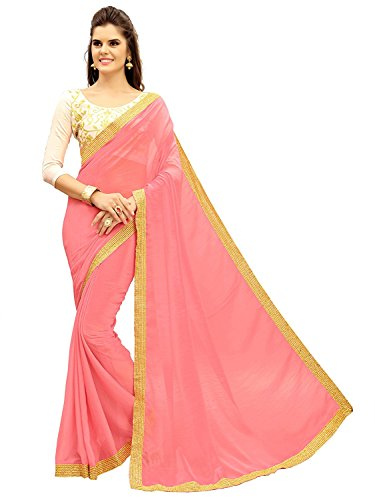 Designer Collection Women's Pink Lycra Saree With Blouse Piece Material