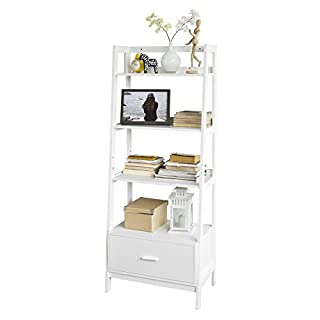 SoBuy® Leiterregal,Bücherregal,Standregal,Badregal,mit Ablagen und Schublade in Weiß, B 64cm, FRG116-W