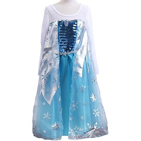 MissFox Niña Vestido Elsa Traje Princesa Frozen 100CM Blanco