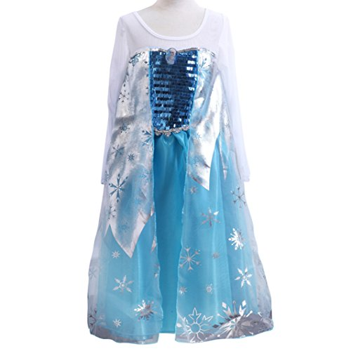 Missfox Frozen Elsa-Kleid-Kostüm Karneval Kind 130cm Weiß