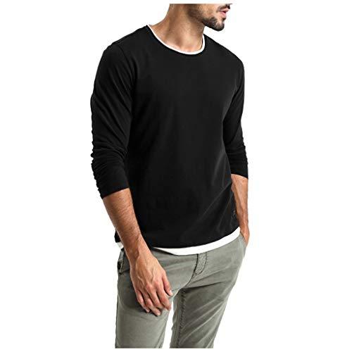 Heetey Hemd Top Herren Herbst Casual Solid Color T-Shirt Sport Slim Langarmshirts Pullover Pullunder mit V-Ausschnitt oder Rundhals - Slim-Fit - Feinstrick - Hochwertige -