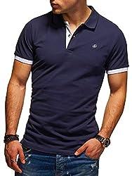 JACK & JONES Herren Poloshirt Polohemd Kurzarmshirt (L, Navy Blazer/White)