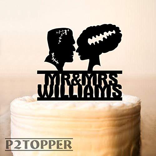 (Tortenaufsatz Frankenstein und Braut Halloween Hochzeit Kuchen Topper Frankenstein Silhouette Custom Cake Topper Personalized Cake Topper 158a)