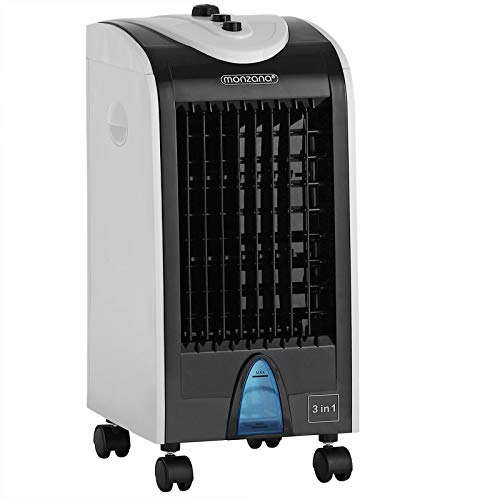 Monzana Luftbefeuchter 3in1 4 L Tank Luftfilter Timer 3 Stufen Rollen Mobiles Klimagerät Ventilator Klimaanlage Luftkühler