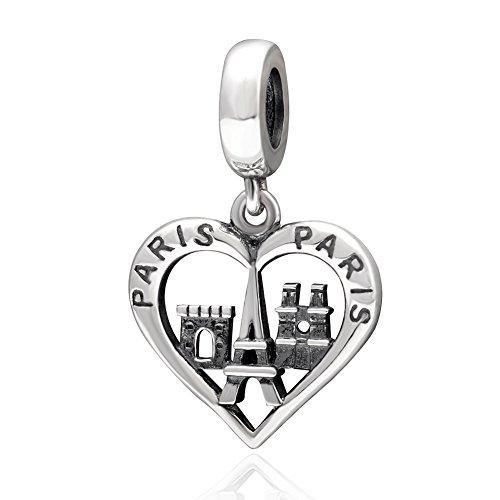 Soulbead amore ciondolo a forma di torre eiffel ciondoli in argento sterling 925con perline per braccialetti gioielli