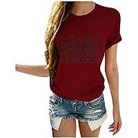 Camiseta para Mujer,Mujeres Día De San Valentín Casual Manga Corta O Cuello Letra Imprimir Tops En Forma De Corazón Camiseta Mujer Camiseta Mujer Casual