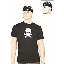 Piratenkostüm Totenkopf T-Shirt + Headwrap Bandana S-3XL