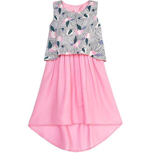 Sunboree Mädchen Kleid 2-in-1 Rosa Blumen- Hallo-Low Chiffon Kleiden Gr. 134