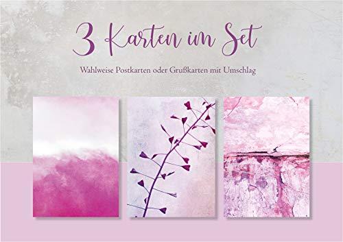 Fotokunst Postkarten 3 Karten im Set Pink Kartenset