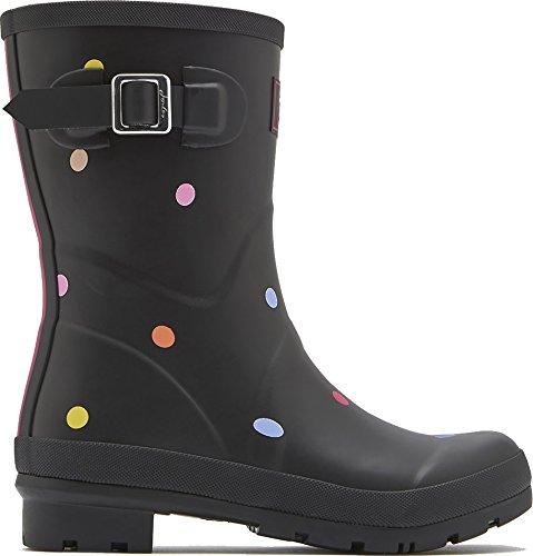 Tom Joule Molly Welly Damen Halbschaft Gummistiefel in Verschiedenen Designs (UK 5/38 EU, Black Pop Spot) (Molly-design)