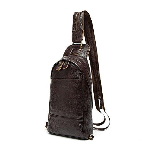 Genda 2Archer Echtes Leder Tasche Fashion Sport Casual Brusttasche (Kaffee) Kaffee