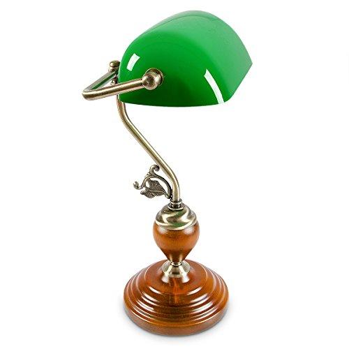 Relaxdays Bankerlampe Holzfuß grün Klassiker Schreibtischlampe - Retro Tischlampe Banker Lampe Messing-Optik & geschwungenen Verzierungen der 30er Jahre - Holz Gals Metall - 26,5 x 43 x 18 cm - E27 (Für Schlafzimmer Messing-tisch-lampen)