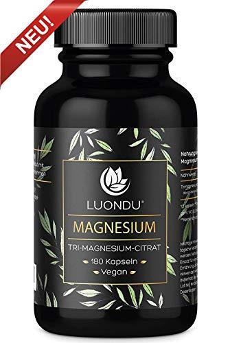 Luondu Magnesiumcitrat 180 Kapseln hochdosiert - 2250mg davon 360mg elementares Premium Magnesium pro Tagesdosis I Magnesium Citrat Tabletten Vegan ohne Zusatzstoffe hergestellt in DE