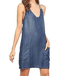 6abf1bfef6807 Vestidos Verano Mujer Cortos Vestido Vaqueras con Bolsillo Azul Elegantes Vestir  De Tirantes Sin Mangas V Cuello…