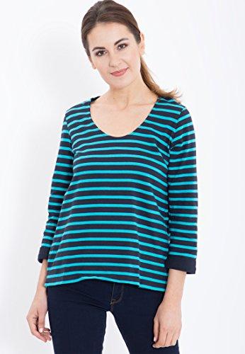 Yarn Dye Stripe Shirt (Mexx Damen T-Shirt A-line, Sleeves, Yarn dye Stripe, Gr. 42 (Herstellergröße: XL), Grau (Sky Captain 067))