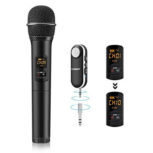 ELEGIANT Micrófono UHF Bluetooth Micrófono inalámbrico Dua portátil con Receptor USB Recargable más de 15 m Alcance para la Conferencia Conferencia KTV Karaoke Fiesta Escolar Boda al Aire Libre DJ