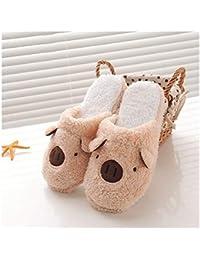 GAOHUI Slippers Los Hombres Invierno Caliente Antideslizante Zapatillas De Felpa Artificial Cute Dibujos Animados En 3D Costura Zapatos,Un Color Café,44-45