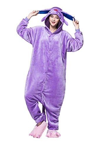Honeystore Pyjama Tieroutfit Tierkostüme Violett Elf Schlafanzug Tier Onesize Sleepsuit mit Kapuze Erwachsene Unisex Kostüm festival tauglich (Kostüme Beste Selbstgemacht Superhelden)