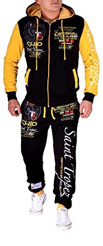 Herren Jogging-Anzug Saint Tropez (L-Slim, Schwarz-Gelb) (Adidas-männer Track Jacket)