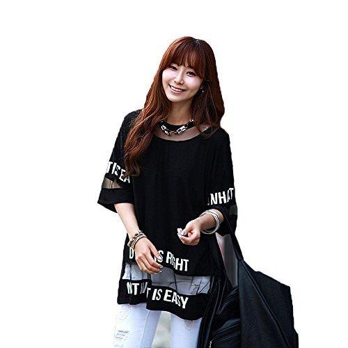 hqclothingbox Women's Lady Summer Korean Short Sleeve Lace Loose Splice Thin T-Shirt