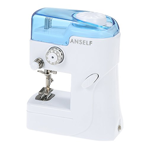 Anself FHSM-988 - Mini Máquina de Coser Portátil, Single-Hilo Rosca, Color Blanco y Azul