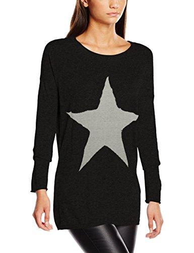 ONLY Damen Pullover onlREESE L/S KNT, Gr. 36 (Herstellergröße: S), Grau (Dark Grey Melange Detail:W. LGM STAR/SILVER STUDS)