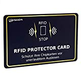 praxxim RFID Blocker Karte in schwarz/Gold – Effektiver Schutz gegen Das Auslesen von Kreditkarten – Eine Schutzkarte sichert die gesamte Geldbörse – Ideale Alternative zu NFC und RFID Schutzhüllen