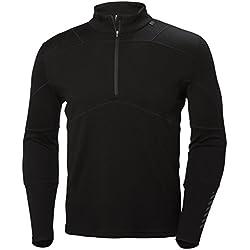 Helly Hansen HH LIFA 1/2 Zip Camiseta Técnica Lana Merino, Hombre, Negro, S