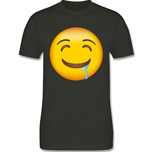Shirtracer Comic Shirts - Emoji Wasser IM Mund - Herren T-Shirt Rundhals Army Grün