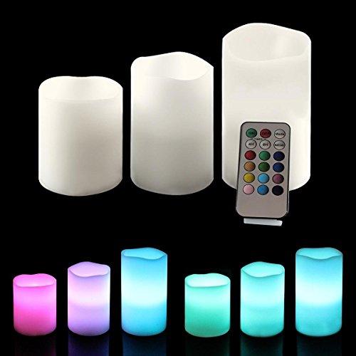 Ohuhu ® 3 lleno vela LED con Control Remoto de 18 Teclas, Blanca