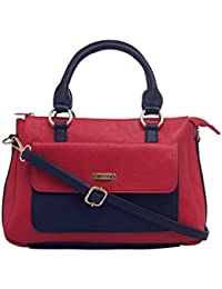 ESBEDA Red & Black Solid Pu Synthetic Fabric Handbag For Women