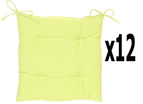 PEGANE Lot de 12 Galettes chaise 4 boutons coloris vert - Dim : L 40 x P 40 x H 4 cm