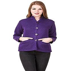 Kritika World Womens Wool Cardigan Dress (COAT_NEHRU_PURPLE_Purple_X-Large)