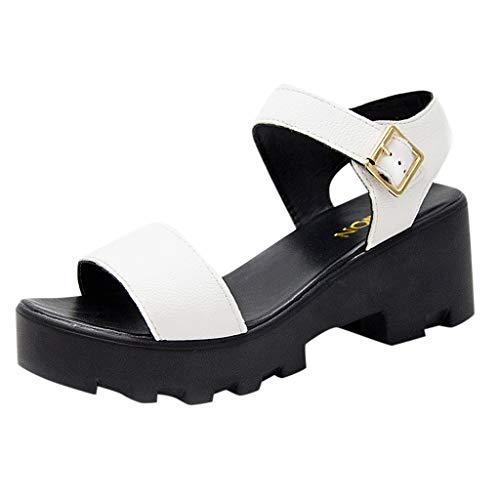 Eaylis Damen Sandalen Vollfarbige Schnalle Sommer Strand Schuhe Hausschuhe Stilvoll und elegant