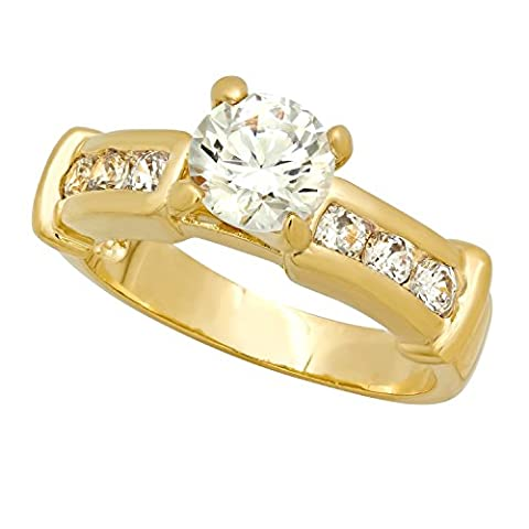 Gold Plated Round CZ Solitaire Ring w/Channel Set Round CZs, Size 10