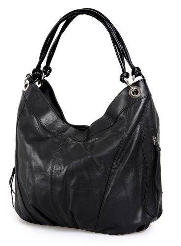 ital. Handtasche XL Shopper Schultertasche Ledertasche echt Nappa schwarz , 42x30x30 cm (B x H x T) (3-fach-shopper)