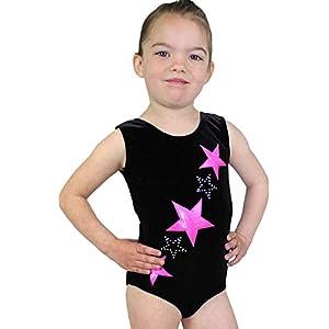 Kurzarm Turnanzug Sterne aus Nicki Samt & Lycra mit Glitzer Effekt in Schwarz/Pink