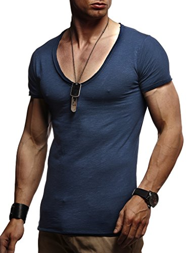 LEIF NELSON Herren Sommer T-Shirt V-Ausschnitt Slim Fit Baumwolle-Anteil | Moderner Männer T-Shirt V-Neck Hoodie-Sweatshirt Kurzarm lang | LN6280 Dunkel Blau Large -