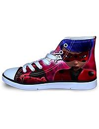 RJhjgfkjh Miraculous Ladybug Zapatos Estampados de impresión Zapatos de la Zapatilla Zapatos Planos Zapatos de Lona Zapatos Bajos Lacing Zapatos del Ocio niños y niñas