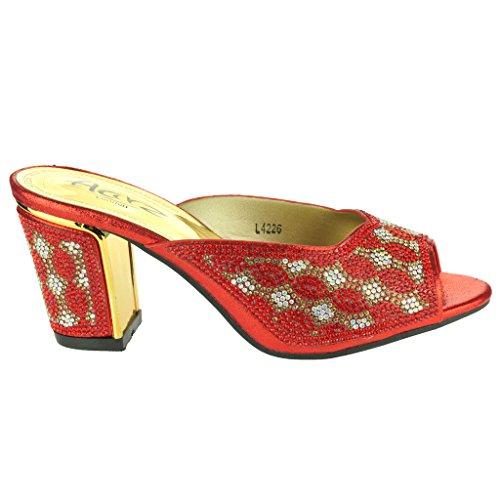 Femmes Dames Brillant strass Enfiler Jeweled Block Heel Soir Mariage De mariée Fête Prom Sandales Chaussures Taille Rouge