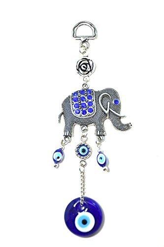 Amuleto turco tipo Nazar para el mal de ojo, color azul, decorativo para colgar con un elefante