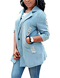 Jeansjacke Damen Langarm Revers Zerrissen Löcher Jeansmantel Mädchen  Elegante Vintage Beiläufiges Mode Boyfriend Style Denim Jacken 587ff5f57d