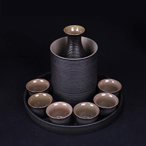 MIRUIKE Sake-Becher Set mit Stövchen aus Keramik, Schwarz, 9-teilig B Sake-becher-set