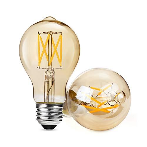 Albrillo 2 Pack Retro E27 LED Globe, Dimmbar Edison LED Glühbirne Ersetzt 40W, Retro Edison Vintage Filament Glühbirne, Warmweiß 2700K, 360° Abstrahlwinkel [Energieklasse A+]