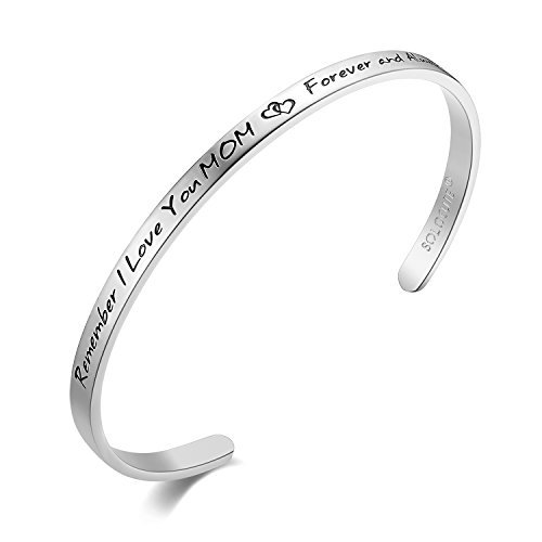 "SOLOCUTE Damen Armband mit Gravur ""Remember I Love You MOM , Forever And Always"" Inspiration Frauen Armreif Schmuck"