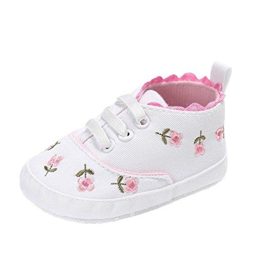 Chaussures de bébé Auxma Chaussures de randonnée pour bébés,Chaussures de toile,Baskets souples antidérapants pour tout-petits Pour 3-18 mois (12-18 M, blanc) blanc