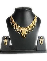 ESHOPITUDE STYLISH CZ AMERICAN DIAMOND GOLD PLATED WOMEN NECKLACE & EARRINGS SET